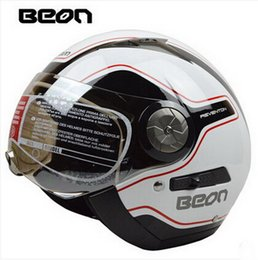 Authentic BEON fashion security double lens Vintage Harley style half face motorcycle helmet ABS keep warm motorbike helmet B216 size M L XL