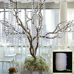 Promotion tableau acrylique clair 30 mètres / 99Feet / roll10mm acrylique perles de disque claires brins cristal de guirlandes pour la décoration de table de mariage chandelier