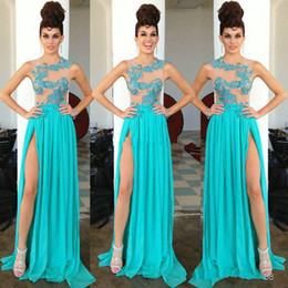 Fashion 2019 Sheer Neck Evening Prom Dresses Blue Chiffon Split Appliqued Formal Dresses Party Evening Celebrity Gowns Cheap