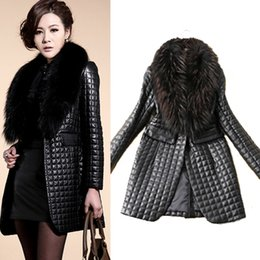 Women's Slim Fit Faux Fur Collar Coat Outwear Black Long Sleeve Faux Leather Jacket Checked Long Overcoat CJD1003