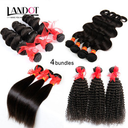 4 Bundles lot Unprocessed Brazilian Hair Weaves Body Wave Straight Loose Deep Wave Kinky Curly Natural Color Brazilian Human Hair Extensions