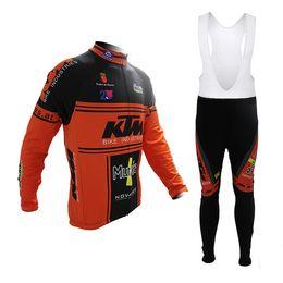 Wholesale 2014 New KTM cycling jersey Winter Thermal Fleece Ropa Ciclismo Mountain Bike MTB Long Sleeve Jersey Bib Pants clothing Tight comfort