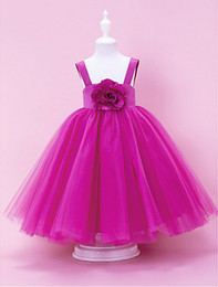 Custom Made Fuchsia Fabulous Ball Gown Square Neckline Tull Over Satin Floor-length Flower Girl Dress