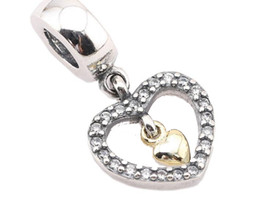 100% Sterling Silver Charms 925 Ale Hollow Out Dangled Rhinestone Heart European Charms for Pandora Bracelets Acessories