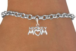 Alloy Hocky Mom Sport Charm Rolo Chain Bracelet 100pcs A lot Message Link Chain Antique Silver Plated