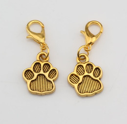 Wholesale Hot Antique gold Paw Print Charm Dangle Bead with Lobster clasp Fit Charm Bracelet x mm DIY Jewelry