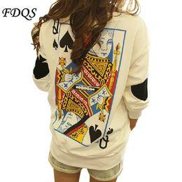 Wholesale Spring FashionTops Harajuku Funny Women t shirt Zipper Ayumi Poker Queen Vintage sweatshirts Round neck pullover Plus Size