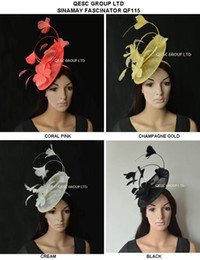 New Arrival exclusive designs,sinamay Feather Fascinator with feather flowers for Melbourne cup,Wedding.Kentucky derby.