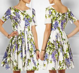 Floral Flower Print Women A-Line Dress Short Sleeve Pleated Summer Casual Dresses 753