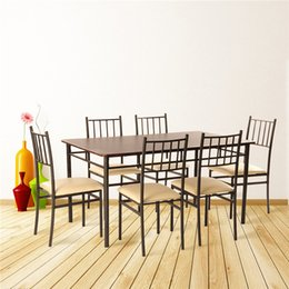 Wholesale US stock dining set with pc dining table dining chairs MDF table top PU seat metal tube Contemporary design