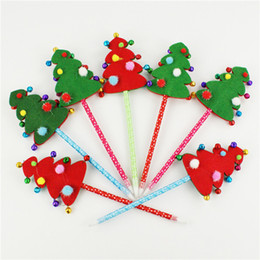 Wholesale Christmas Gifts christmas Ballpoint Pen With Fabric Tree Decoration and Bell for Kids Gifts christmas decorations sale