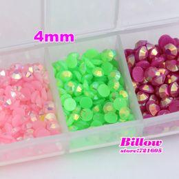 Wholesale-4mm AB Mix Color Flatback Resin Rhinestone For DIY Decoration,Nail Rhinestones Deco Glitters Gems stones and Rhinestones B1799