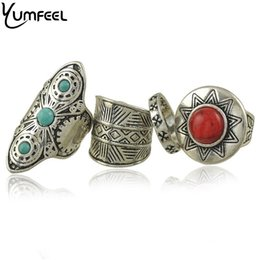 Wholesale 2016 New Vintage Jewelry Rings Unique Design Synthetic Turquoise Cocktail Ring Set for Woman anillo de dedo joyas set