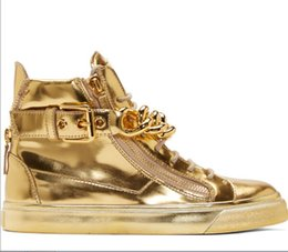 Wholesale Top Brand Designer Zapatos Hombre Round Toe Men Sneakers Gold Chains Men Shoes High Top Sneakers Plus Size Tenis Masculino