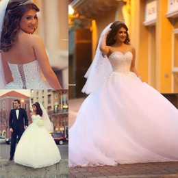 Princess Wedding Dresses Beaded Top Ball Gown Soft Tulle Bridal Gowns with Crystals Sweetheart Plus Size Lace up Corset Back Custom