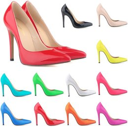 Wholesale 2016 Armoire Sales Big Size Yellow Blue Red Glossy Women Nude Pumps Pointed Toe Super High Heels Ladies Wedding Shoes A05