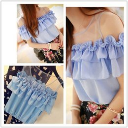 Women Shirt Sexy Off the Shoulder Shoulder Ruffled Temperament Fashion Summer Lace Tops Illusion Low Back Peasant Lady Sheer Chiffon Blouse