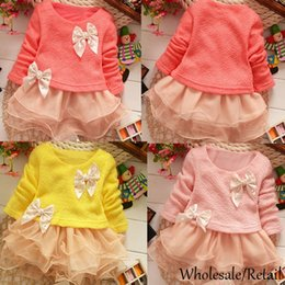 Wholesale Princess Baby Girls Winter Dresses Knitted Net Yarn Bowknot Sweater Party Dress Kids Mini Layers Ruffled Dress Clothes Pink Yellow SV007016