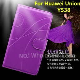 Wholesale Hot Selling Luxury Leather Curve Glossy Stand Flip Phone For Huawei Union Y538 Case Cover Inside With Credit Card Slots Free DHL