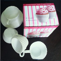 Wholesale Silicone Tea Cake Moulds - Silicone Cake Cup Tea Cup Silicone Cupcake Moulds Baking Fun Party Cakes Muffin Mould 4 Cup 4 Saucers Boxed (240041)