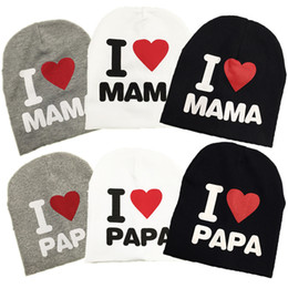 autumn baby knitted warm cotton beanie hat for toddler baby kids girl boy I LOVE PAPA MAMA print baby winter hats