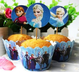 Wholesale New pc set Frozen Paper Cupcake Wrappers Toppers for Kids Birthday Party Decoration Cakecup Picks Toppers Wedding Supplier MYF263