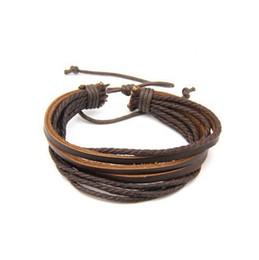 2015 Hot Unisex Surfer Tribal Wrap Multilayer Genuine Leather Bracelet For Woman Man