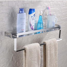 Wholesale And Retail Bathroom Stainless Steel Bath Shelf Storage Holder Modern Square Wall Mounted Shelf Holder W  Towel Bar