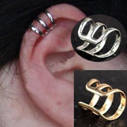 Wholesale 60pcs Hot Punk Rock Ear Clip Cuff Wrap Earrings No piercing Clip on Silver Gold Bronze Women Men Party Jewelry Gift Free JE05030