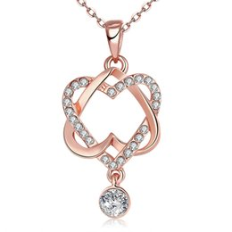 Wholesale Hot selling fashion jewelry gold plated CZ diamonds two heart lady necklace Valentine s gift for girlfriend style