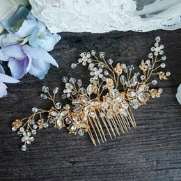 Wholesale Vintage Gold Crystal Wedding Hair Accessories Comb Handmade Baroque Bridal Headpiece Jewelry