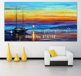 Sailing Boat Dust Seacape Modern Palette Knife Painting Picture Printed On Canvas For Office Home Wall Art Decor