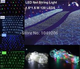 Rgb led net à vendre-Gros-2PCS / LOT Guirlande LED Net lumière 120 LED 8 modes de flash 110V / 220V chaînes Parti de Noël Noël Décorations de mariage