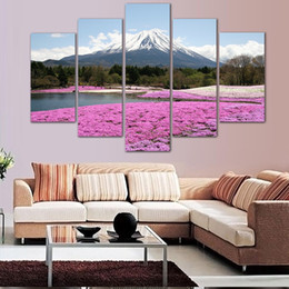 5 Piece Fuji Mountain Landscape Painting Home Decor Modern Art Picture Print on Canvas Painting Wall Decor Unframed Painting