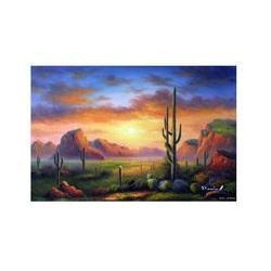 Wholesale Arizona Desert Sunset Saguaro Cactus Sage Frameless draw X36 Oil On Canvas Painting