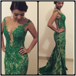 Modest Green 2016 Lace Mermaid Evening Dresses Crystals Beaded Sexy See Through Back Long Prom Party Dresses With Sweep Train