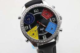 Wholesale fashion luxury Five Time Zone Diamond black Watch Watches mens original bucklet quartz movement leather belt watches