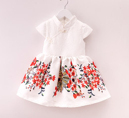 Wholesale Skirt China Wholesale - 2016 new children girls dress Manufacturers supply fashion leisure printing China style skirts short sleeved dress 5 pcs for sales A022242