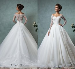 Wholesale Lace Straps Sleeves - Amelia Sposa 2016 Lace Wedding Dresses Long Sleeve Bridal Ball Gown Sexy Vintage Cheap V-Neck Arabic Sheer Wedding Dress Appliques