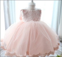 Wholesale Infant Baby Christening Dresses For Actual Photo Lace Toddler Girls Party Princess Dress Full Month And Year Clothes Retail K366