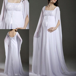 Chiffon Maternity A-Line Wedding Dresses Empire Waist Floor Length White Chiffon Appliques Long Sleeve Plus Size Maternity Bridal Gowns