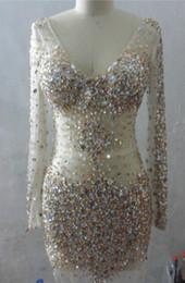De manga corta cuello en v en venta-Tulle V cuello de cristal con cuentas vestido de fiesta con mangas largas 2017 corto vestido de fiesta de baile elegante