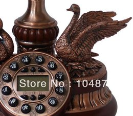 Wholesale antique european style solid wood classical swan telephone hands free redial letter Blue screen phone
