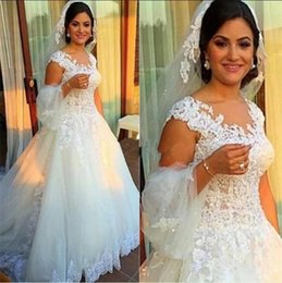 Vintage 2016 Lace Wedding Dresses V Neck Capped A Line Plus Size Wedding Dress Sweep Train Tulle Personalized Retro Bridal Gowns