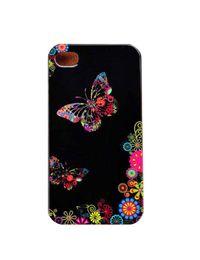 Wholesale Butterfly Romantic Black Design Hard Plastic Phone Case Cover For iPhone 4 4S 5 5S 5C 6 6 Plus