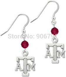 Wholesale Texas A amp M Aggies crystal beads sport drop earrings antique silver plated pairs a