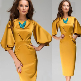 2015 New Fashion Women Work Wear Ladies Lantern Sleeve Yellow Solid Color Office Dress Vintage Bodycon Midi Sexy Dress D31842W