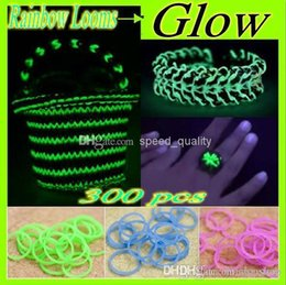 Wholesale Glow Rainbow Loom bands kit supplement package bracelet Rubber Bands gift for children a variety of colors