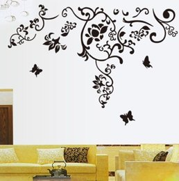 Wholesale 2015 new fashion Butterfly Feife Flower Vine Removable Vinyl Art Wall Sticker Decal Home Decor UK