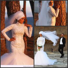 Design Fashion Lace Applique Bead High Neck Long Sleeve Muslin Wedding Dresses Mermaid Organza Sexy Bridal Gowns Vestidos De Novia Chic